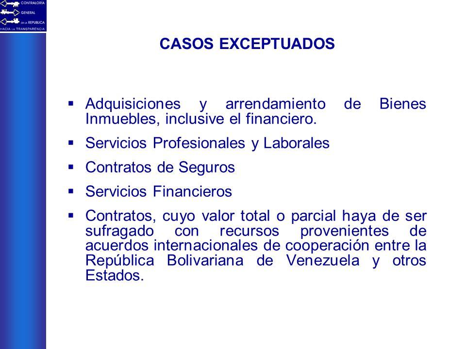 CASOS EXCEPTUADOS Adquisiciones y arrendamiento de Bienes Inmuebles, inclusive el financiero. Servicios Profesionales y Laborales.