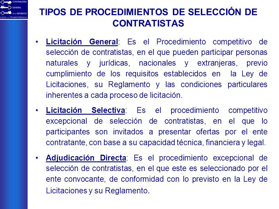 TIPOS DE PROCEDIMIENTOS DE SELECCIÓN DE CONTRATISTAS