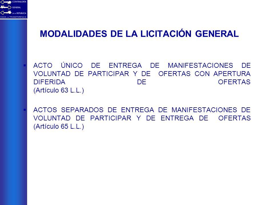 MODALIDADES DE LA LICITACIÓN GENERAL