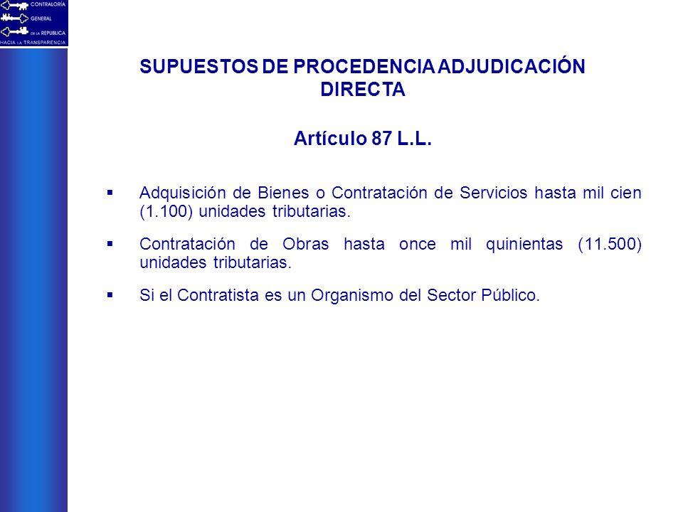 SUPUESTOS DE PROCEDENCIA ADJUDICACIÓN DIRECTA