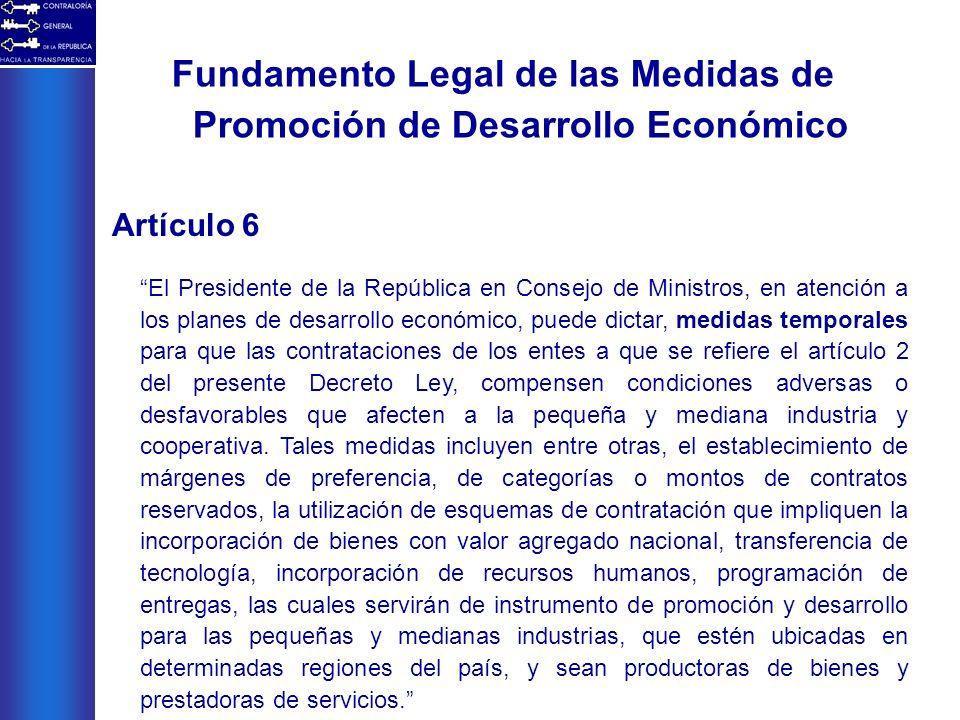 Fundamento Legal de las Medidas de Promoción de Desarrollo Económico