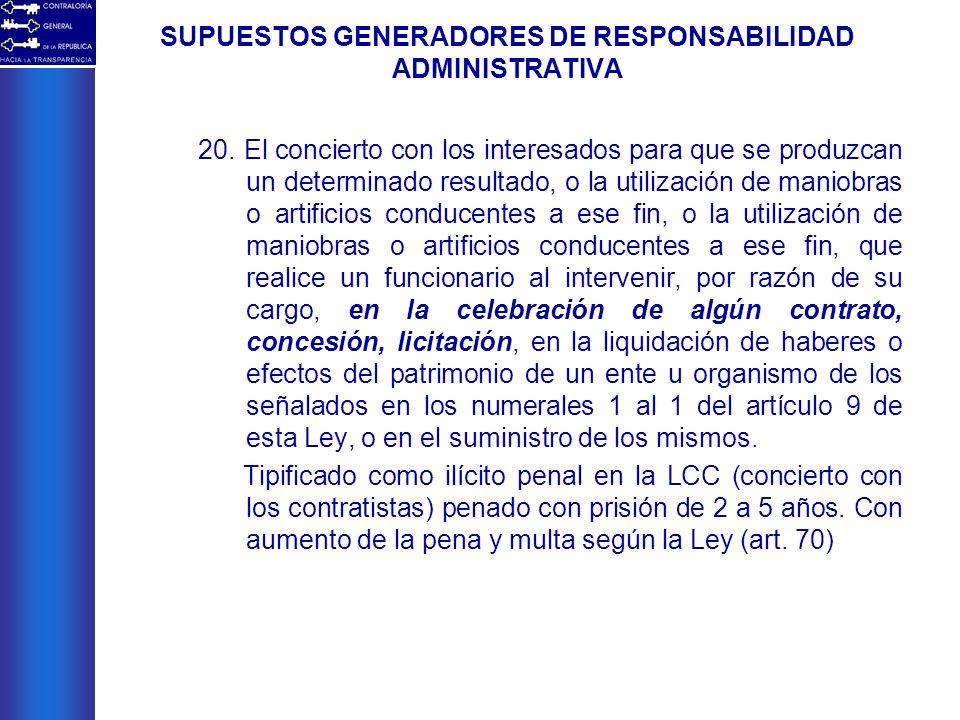 SUPUESTOS GENERADORES DE RESPONSABILIDAD ADMINISTRATIVA