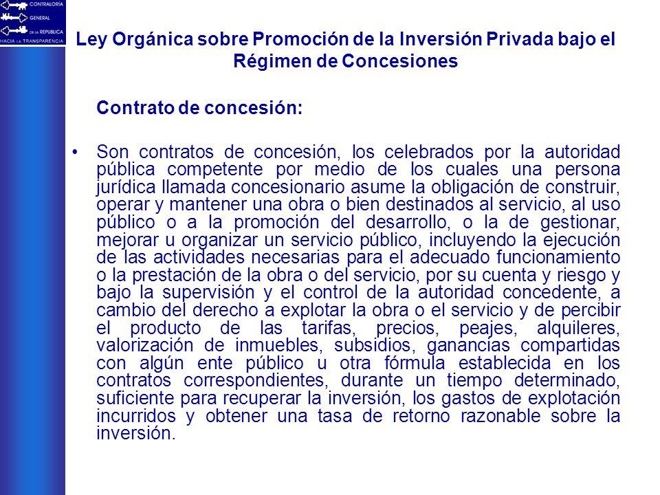 Ley Orgánica sobre Promoción de la Inversión Privada bajo el Régimen de Concesiones