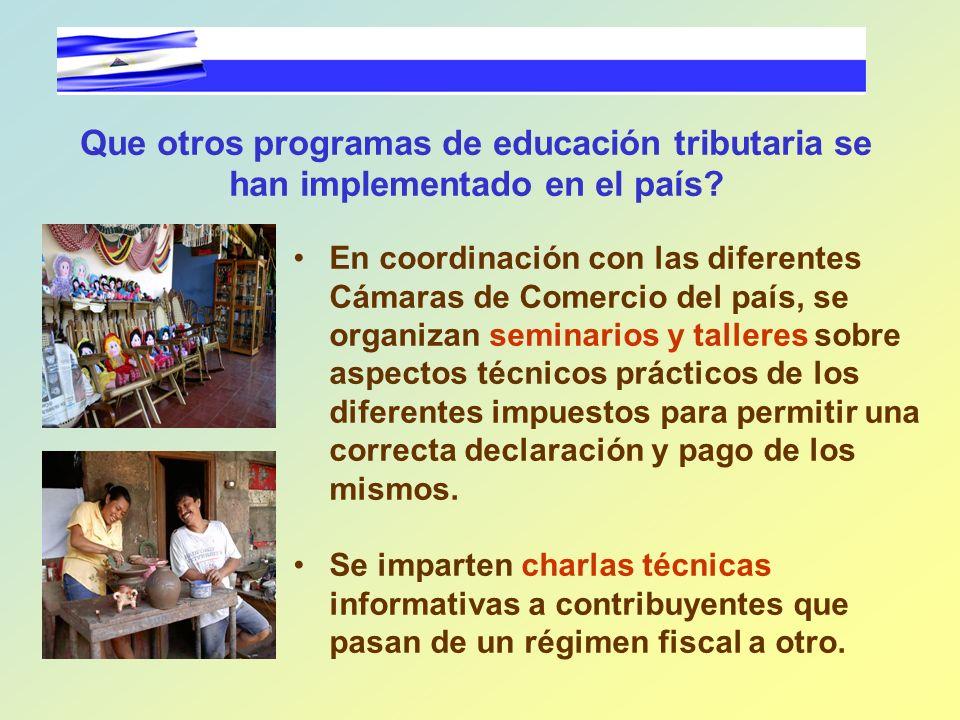 Que otros programas de educación tributaria se han implementado en el país