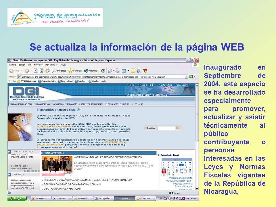 Se actualiza la información de la página WEB