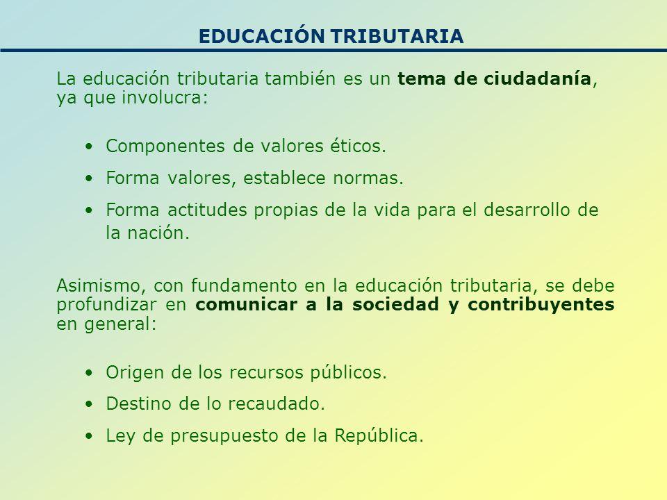EDUCACIÓN TRIBUTARIA La educación tributaria también es un tema de ciudadanía, ya que involucra: Componentes de valores éticos.