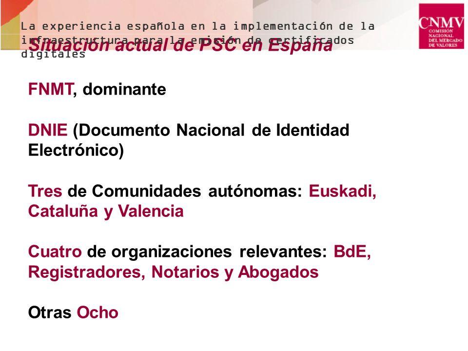 Situación actual de PSC en España FNMT, dominante