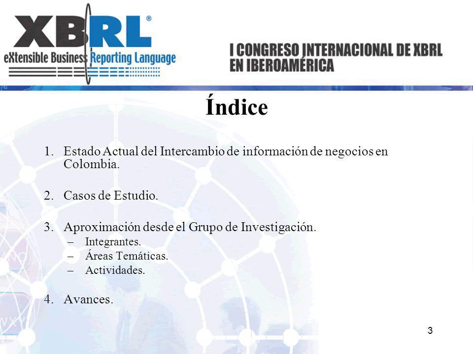 ÍndiceEstado Actual del Intercambio de información de negocios en Colombia. Casos de Estudio. Aproximación desde el Grupo de Investigación.