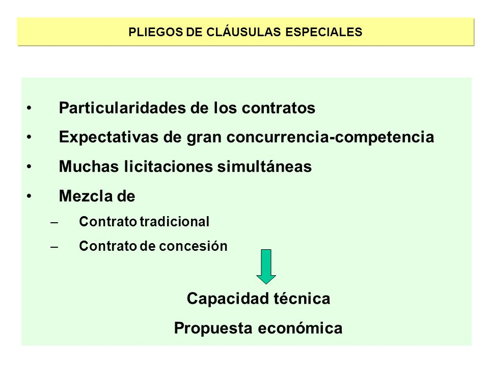 PLIEGOS DE CLÁUSULAS ESPECIALES