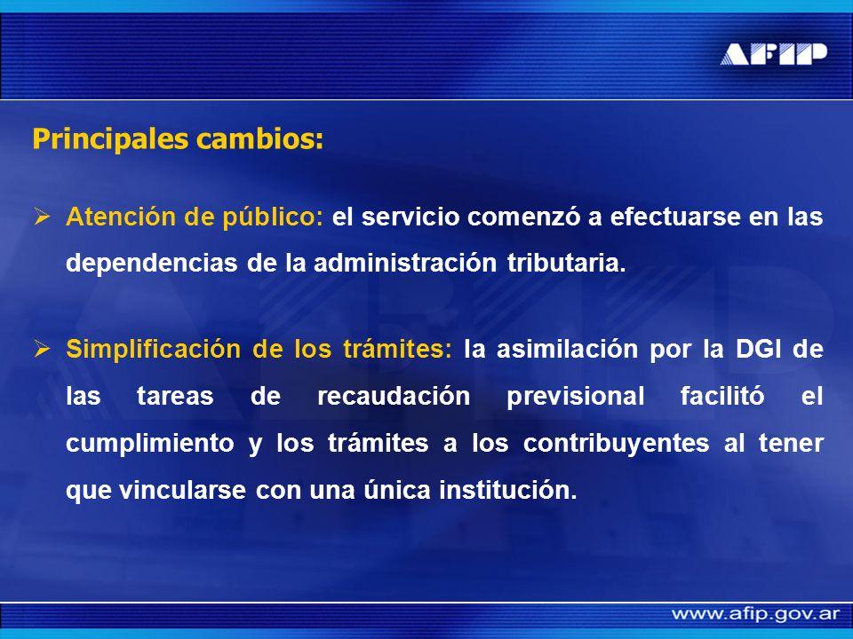 Principales cambios: Atención de público: el servicio comenzó a efectuarse en las dependencias de la administración tributaria.