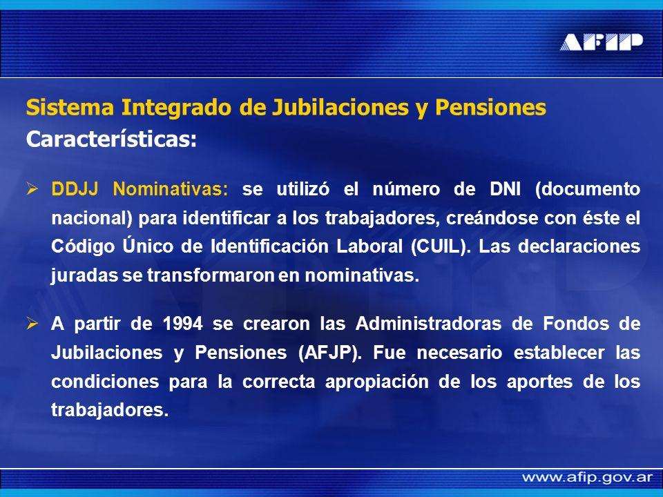 Sistema Integrado de Jubilaciones y Pensiones Características: