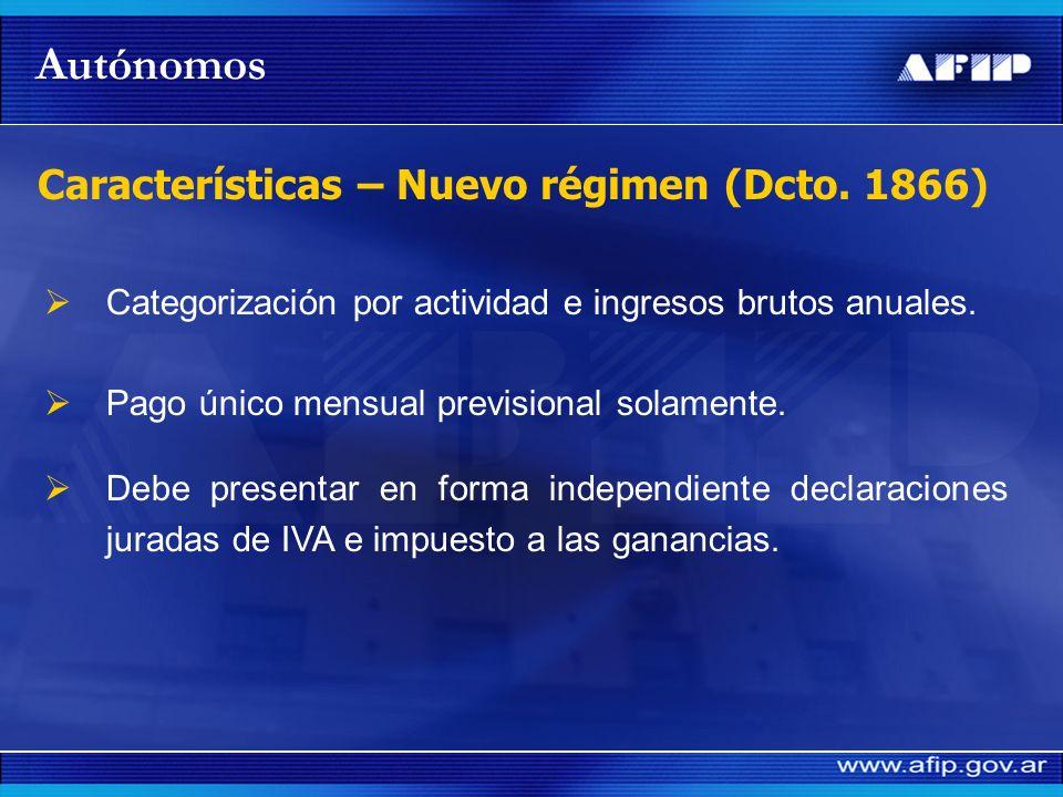 Autónomos Características – Nuevo régimen (Dcto. 1866)