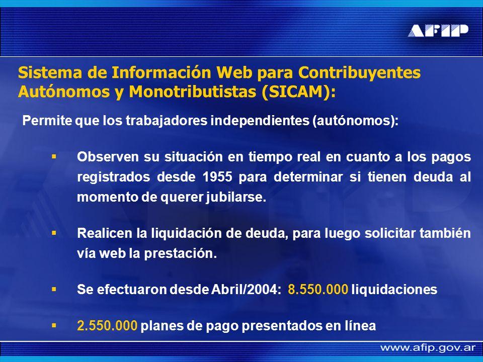 Sistema de Información Web para Contribuyentes Autónomos y Monotributistas (SICAM):