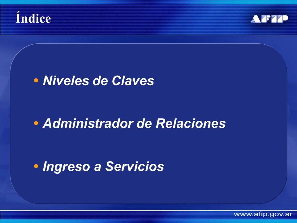 Índice Niveles de Claves Administrador de Relaciones Ingreso a Servicios
