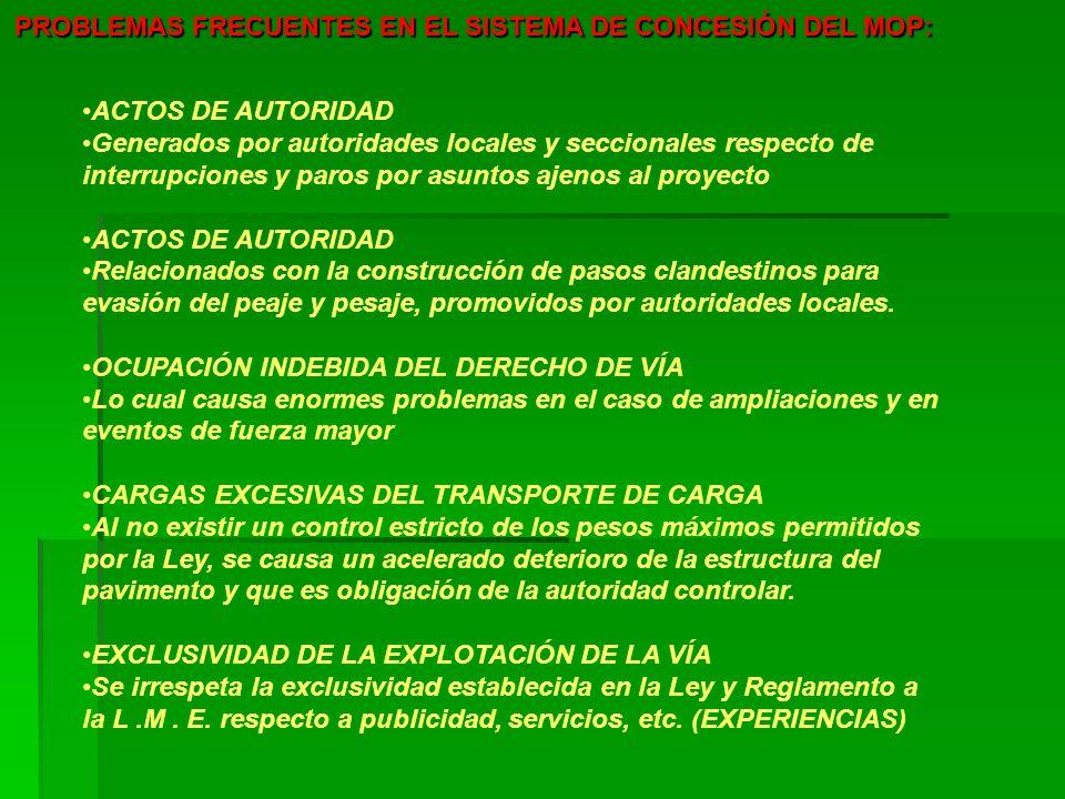 PROBLEMAS FRECUENTES EN EL SISTEMA DE CONCESIÓN DEL MOP: