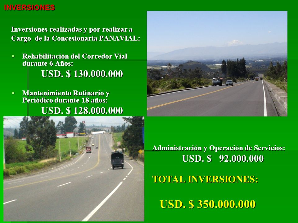 USD. $ 128.000.000 TOTAL INVERSIONES: USD. $ 350.000.000 INVERSIONES