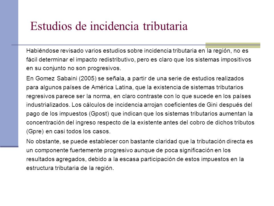 Estudios de incidencia tributaria