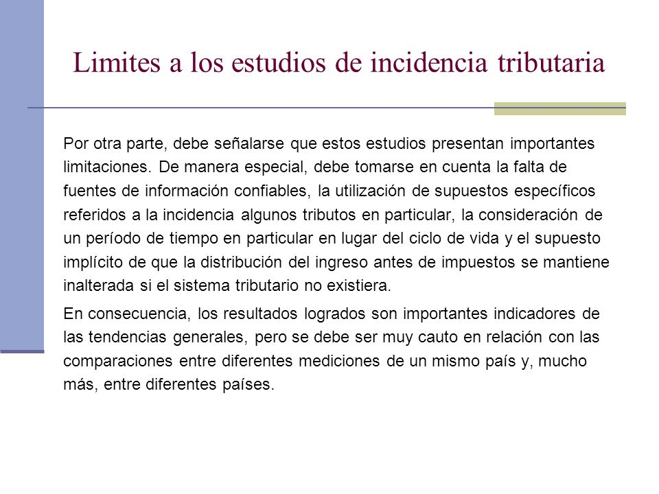 Limites a los estudios de incidencia tributaria