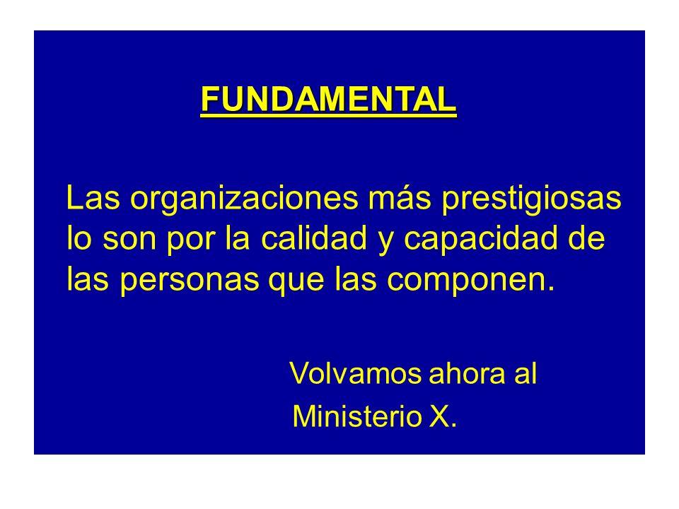 FUNDAMENTAL Las organizaciones más prestigiosas lo son por la calidad y capacidad de las personas que las componen.