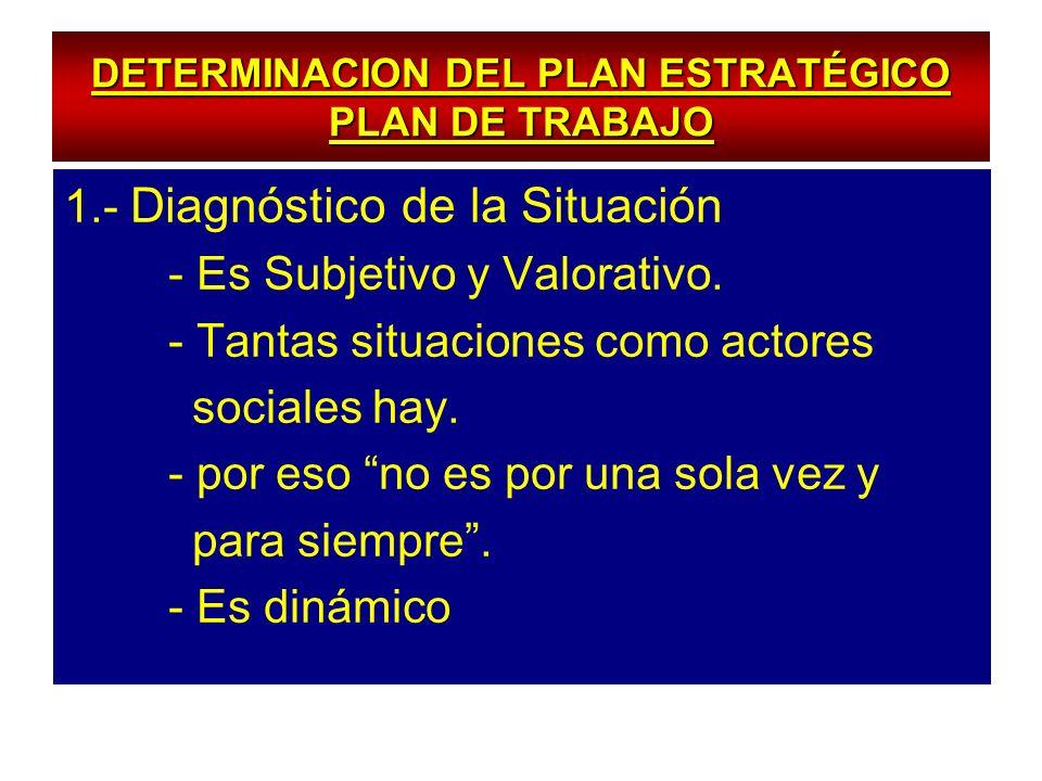 DETERMINACION DEL PLAN ESTRATÉGICO PLAN DE TRABAJO