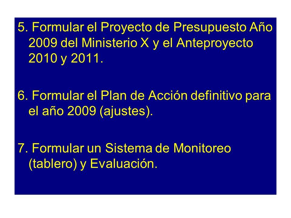 5. Formular el Proyecto de Presupuesto Año 2009 del Ministerio X y el Anteproyecto 2010 y 2011.