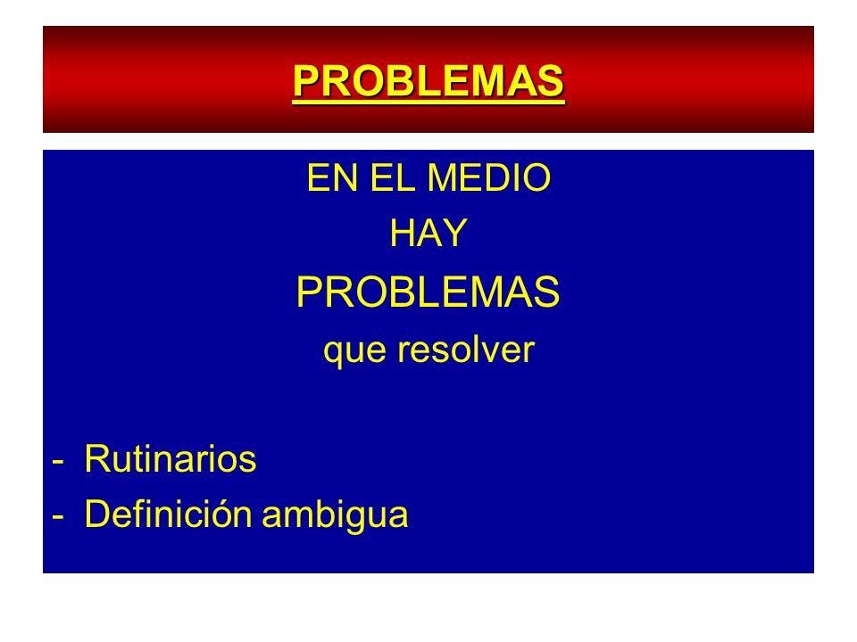 PROBLEMAS PROBLEMAS EN EL MEDIO HAY que resolver Rutinarios