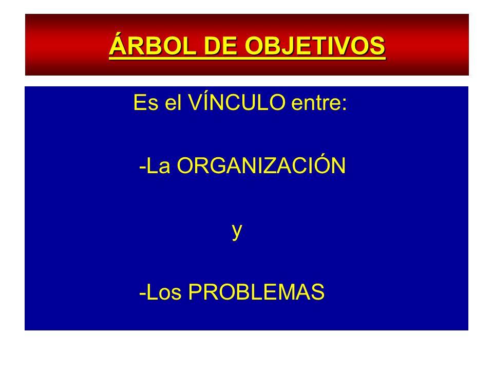 ÁRBOL DE OBJETIVOS Es el VÍNCULO entre: -La ORGANIZACIÓN y