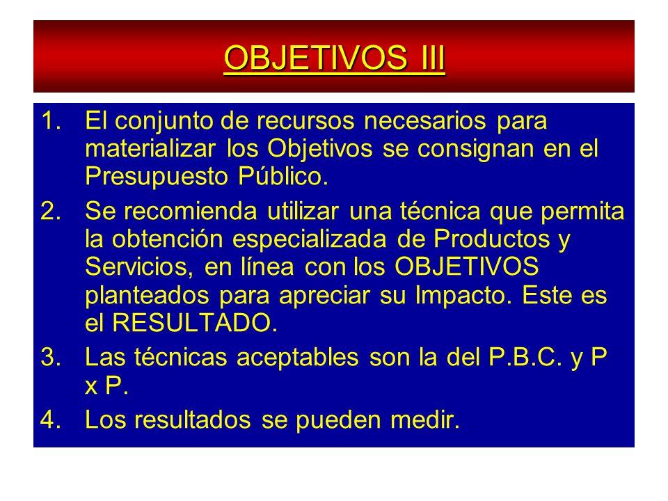 OBJETIVOS III El conjunto de recursos necesarios para materializar los Objetivos se consignan en el Presupuesto Público.
