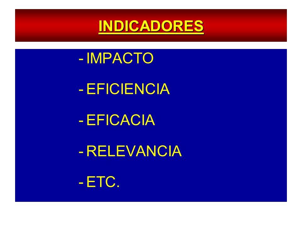 INDICADORES IMPACTO EFICIENCIA EFICACIA RELEVANCIA ETC.
