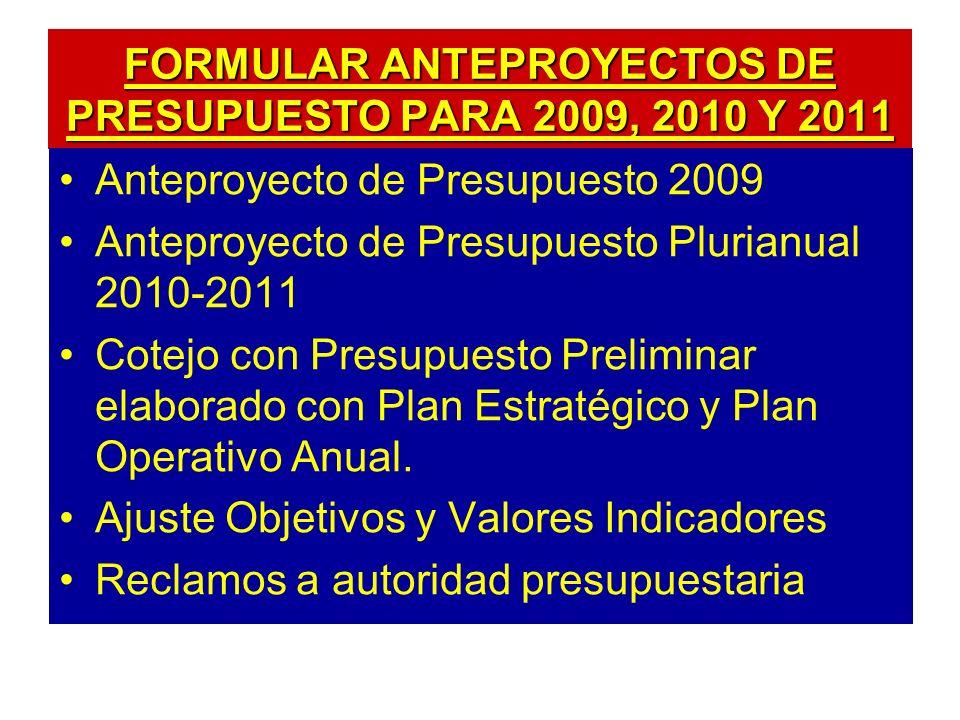 FORMULAR ANTEPROYECTOS DE PRESUPUESTO PARA 2009, 2010 Y 2011