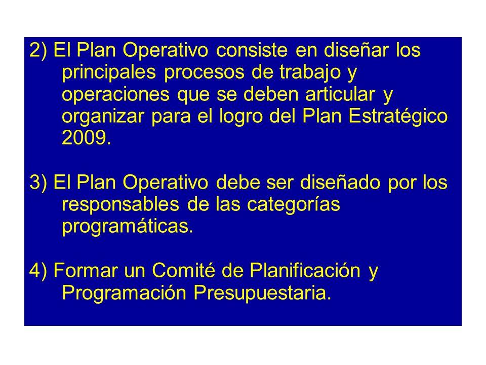 2) El Plan Operativo consiste en diseñar los principales procesos de trabajo y operaciones que se deben articular y organizar para el logro del Plan Estratégico 2009.