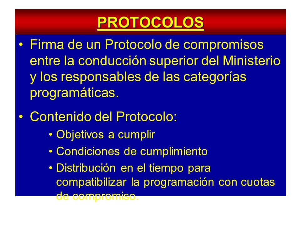 PROTOCOLOS Firma de un Protocolo de compromisos entre la conducción superior del Ministerio y los responsables de las categorías programáticas.