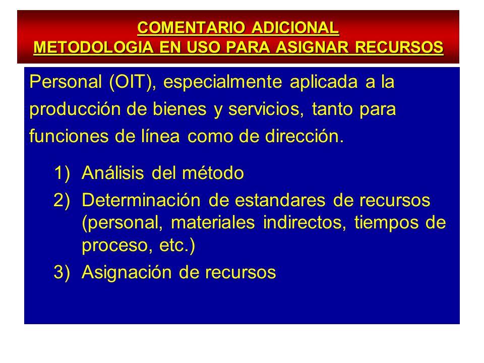 COMENTARIO ADICIONAL METODOLOGIA EN USO PARA ASIGNAR RECURSOS