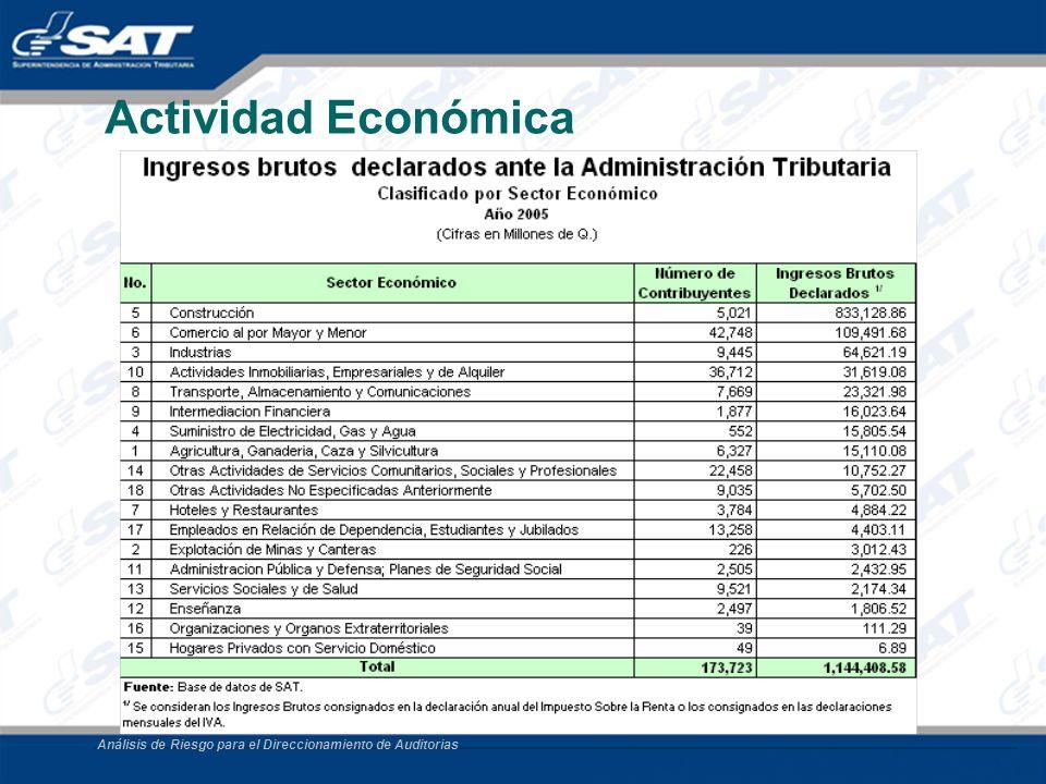 Actividad Económica Análisis de Riesgo para el Direccionamiento de Auditorias