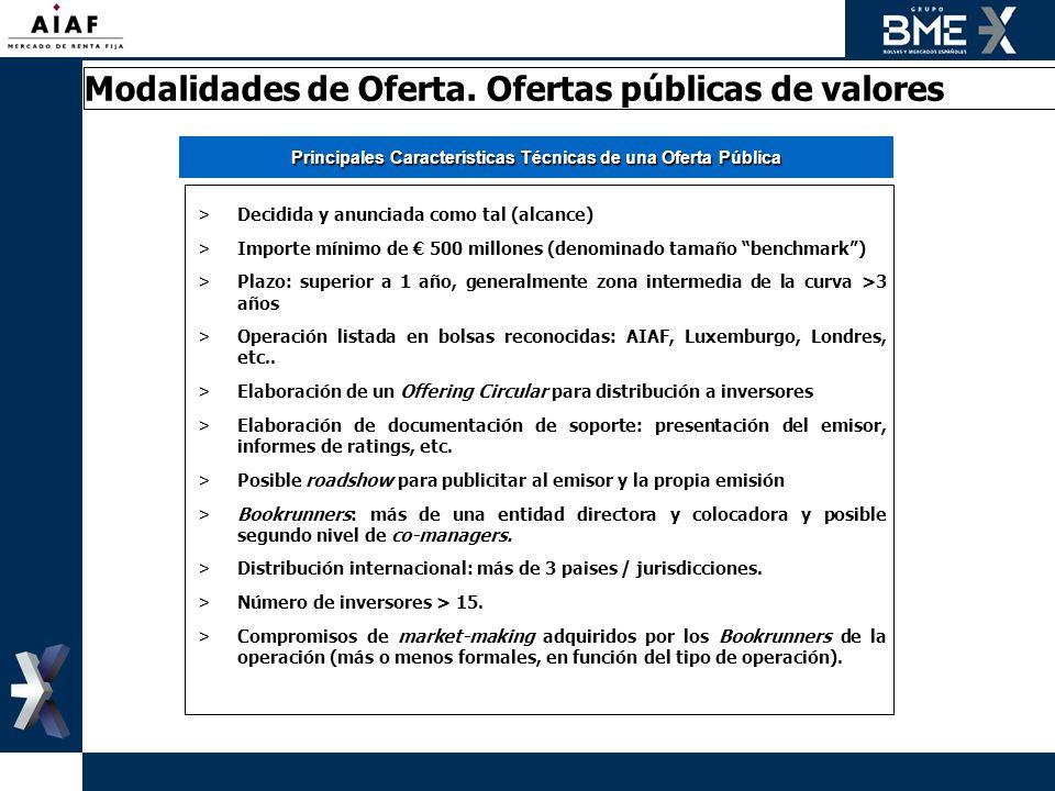 Principales Características Técnicas de una Oferta Pública