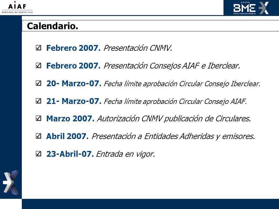 Calendario. Febrero 2007. Presentación CNMV.