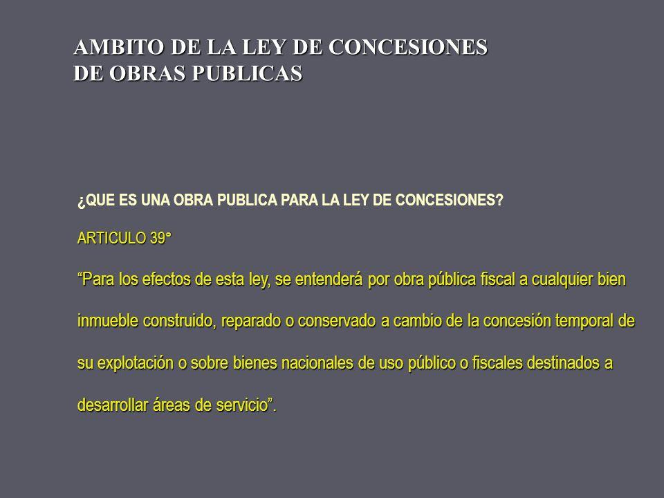 AMBITO DE LA LEY DE CONCESIONES DE OBRAS PUBLICAS