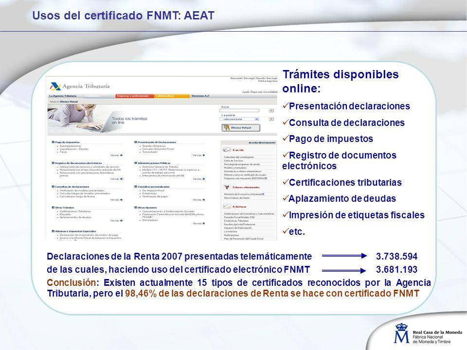 Usos del certificado FNMT: AEAT