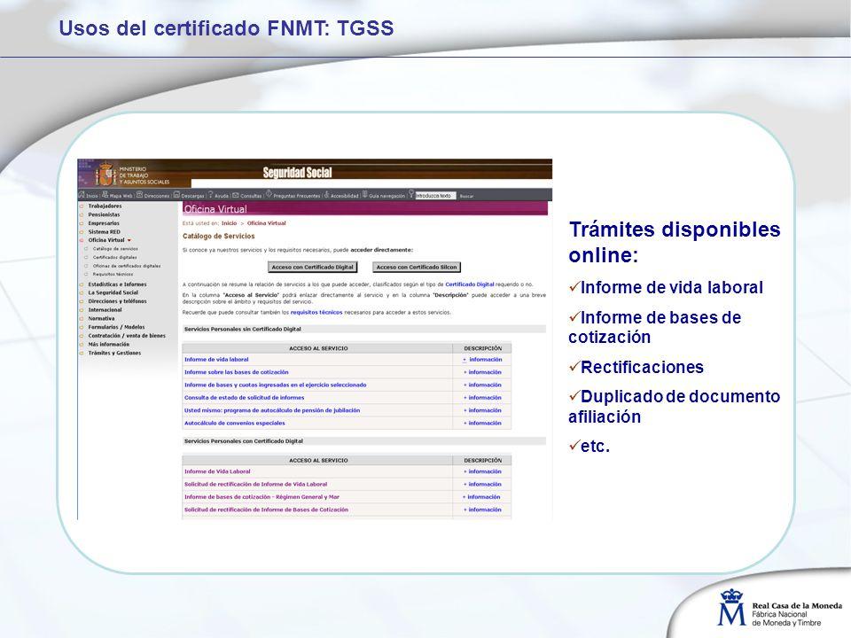 Usos del certificado FNMT: TGSS