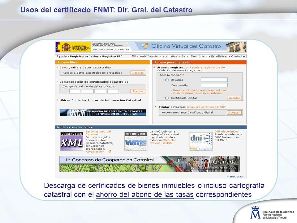 Usos del certificado FNMT: Dir. Gral. del Catastro