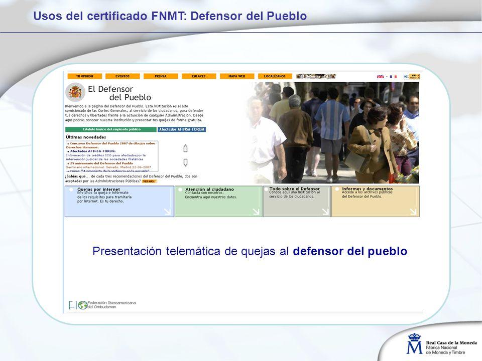 Usos del certificado FNMT: Defensor del Pueblo