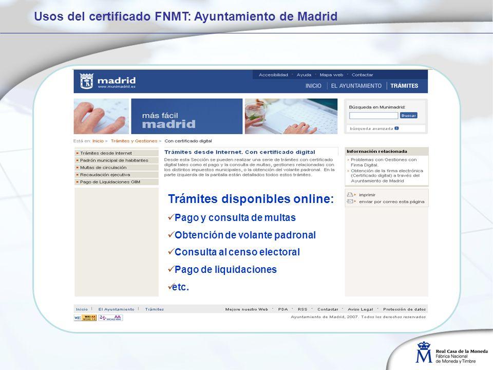 Usos del certificado FNMT: Ayuntamiento de Madrid