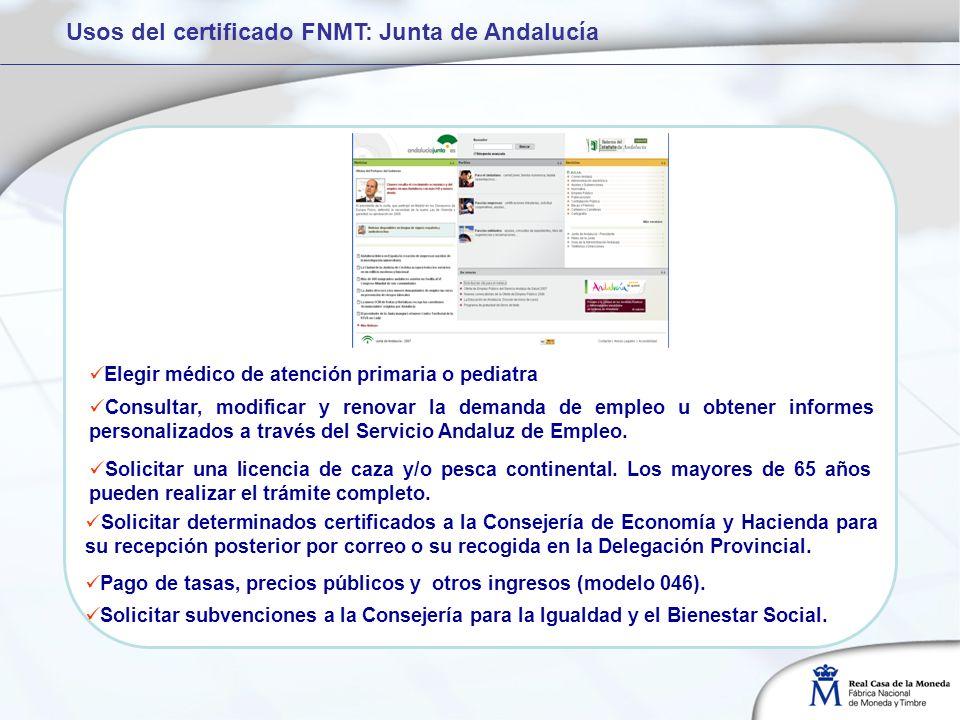 Usos del certificado FNMT: Junta de Andalucía