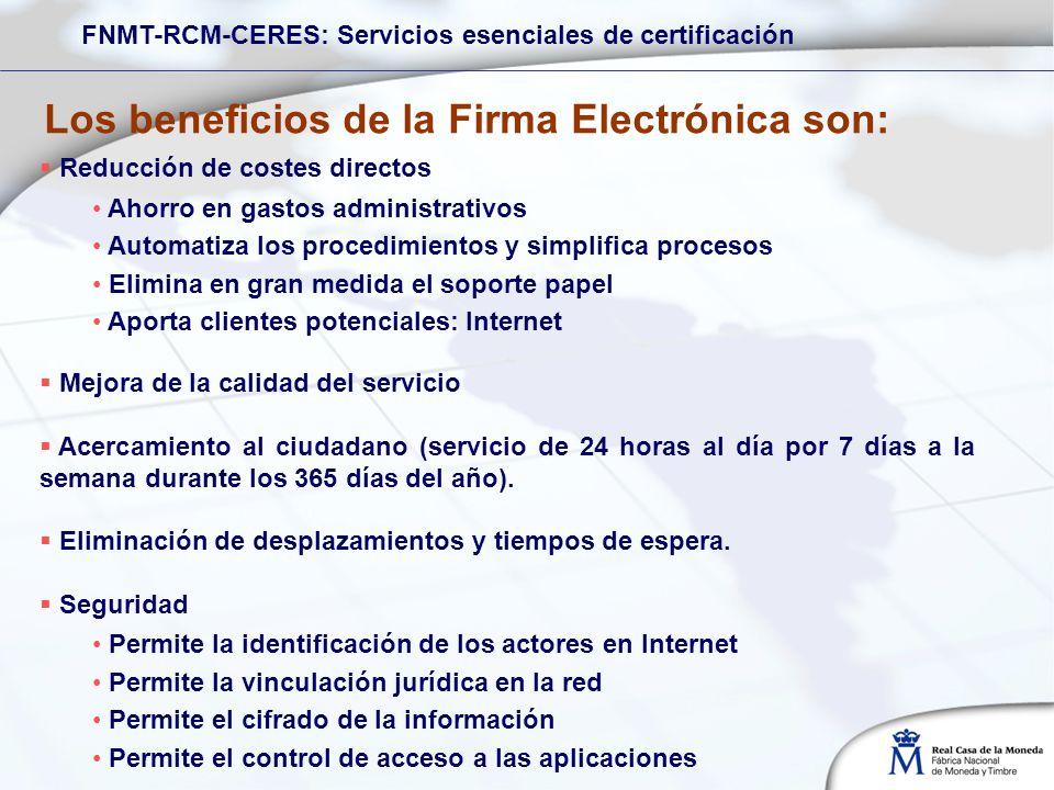 Los beneficios de la Firma Electrónica son: