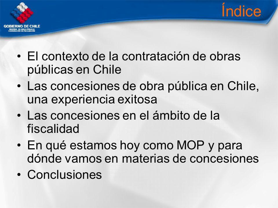 Índice El contexto de la contratación de obras públicas en Chile