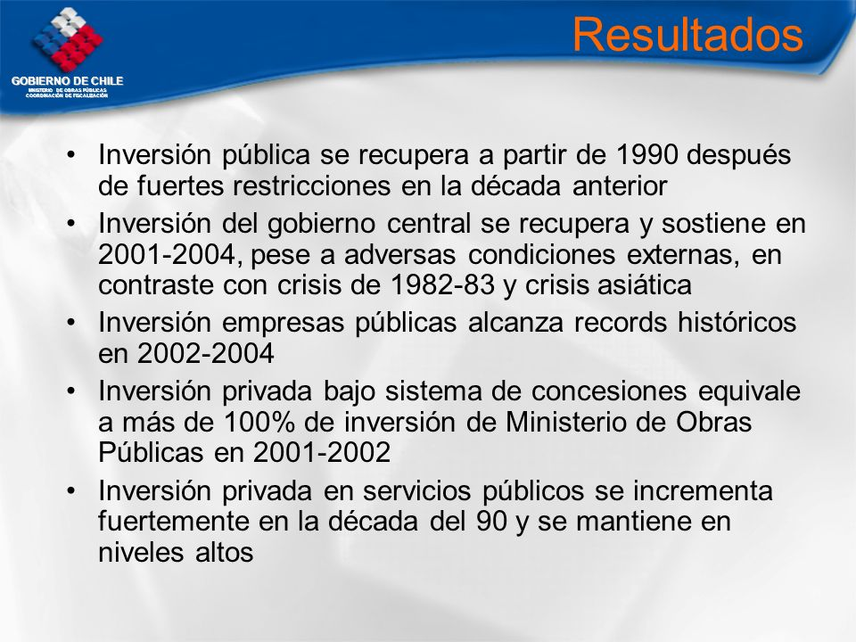ResultadosInversión pública se recupera a partir de 1990 después de fuertes restricciones en la década anterior.