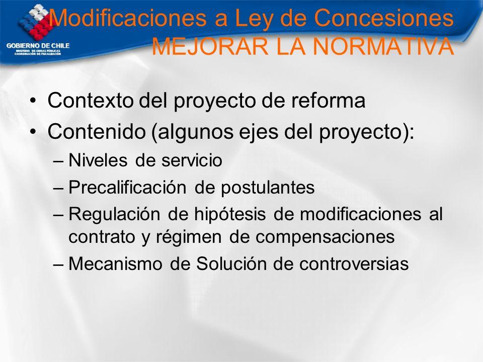 Modificaciones a Ley de Concesiones MEJORAR LA NORMATIVA