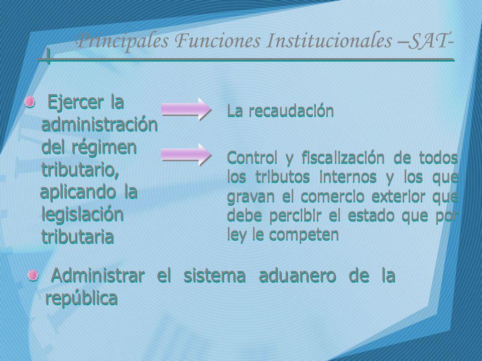 Principales Funciones Institucionales –SAT-