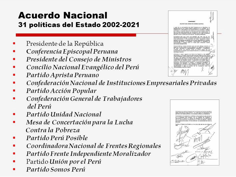 Acuerdo Nacional 31 políticas del Estado 2002-2021