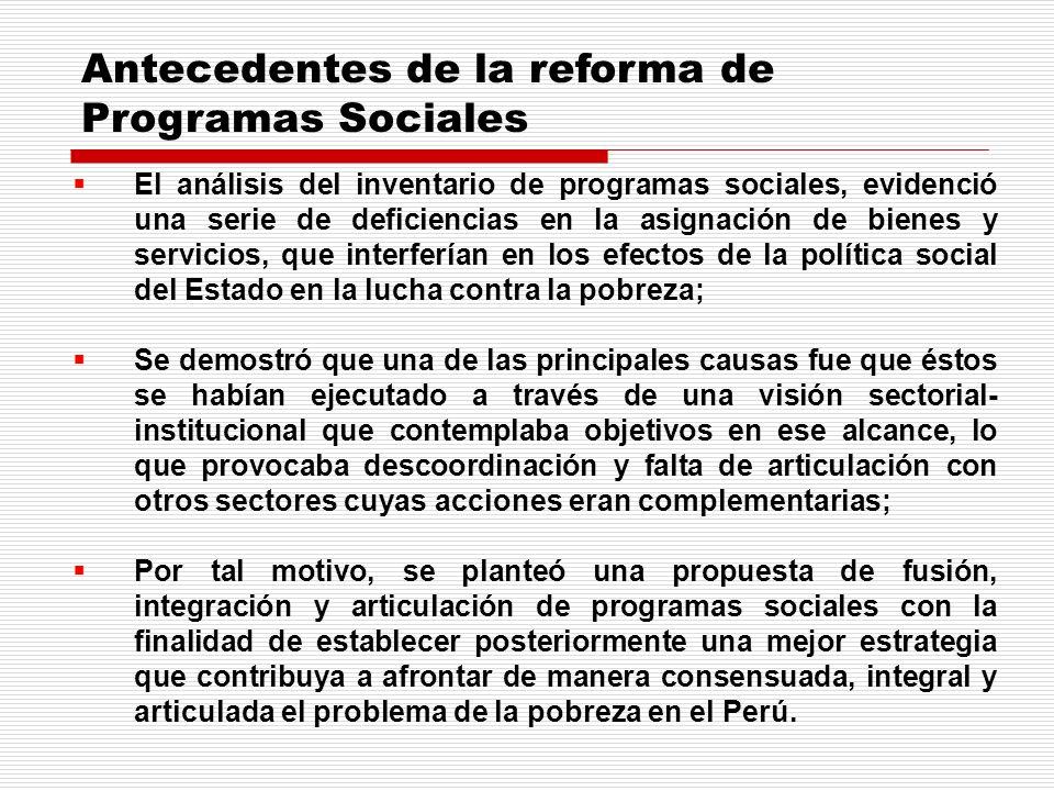 Antecedentes de la reforma de Programas Sociales